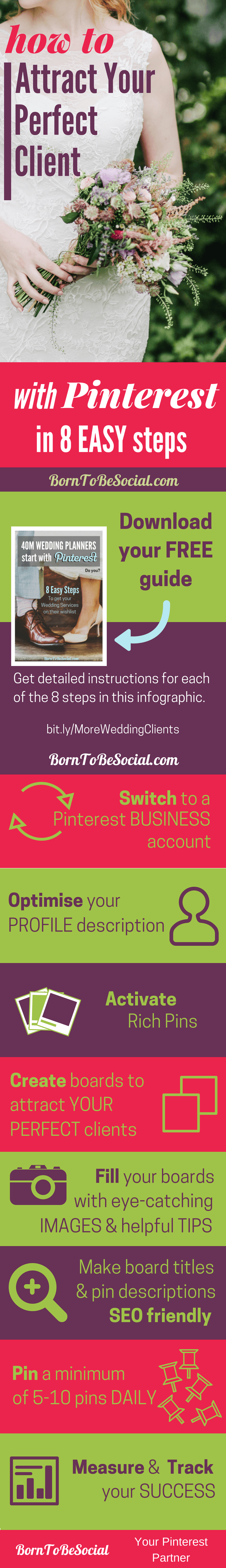 INFOGRAPHIC - HOW TO FIND WEDDING CLIENTS WITH PINTEREST for Hotel Wedding Venues, Wedding Planners & Photographers - 8-Step Checklist & Action Plan. Your perfect clients spend a LOT of time on Pinterest planning their perfect wedding and wedding reception, but are they finding their way to the wedding services on your website? |via @BornToBeSocial, Pinterest Marketing & Consulting #PinterestExpert #PinterestWedding #ukweddingvenues #ChateauWedding #PinterestForBusiness #PinterestMarketingTips