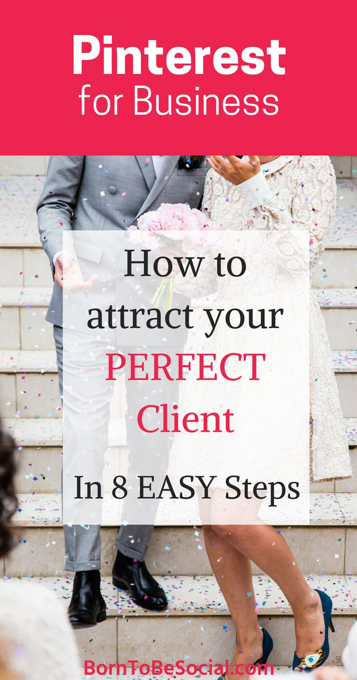 THIS IS HOW TO GET MORE WEDDING CLIENTS IN 8 EASY STEPS - 8-Step Checklist & Action Plan | 40 million people use Pinterest for wedding planning every year. If your customers are future brides and grooms, then Pinterest is THE platform to market your business. | via @BornToBeSocial – Conversion Focused Pinterest Marketing
