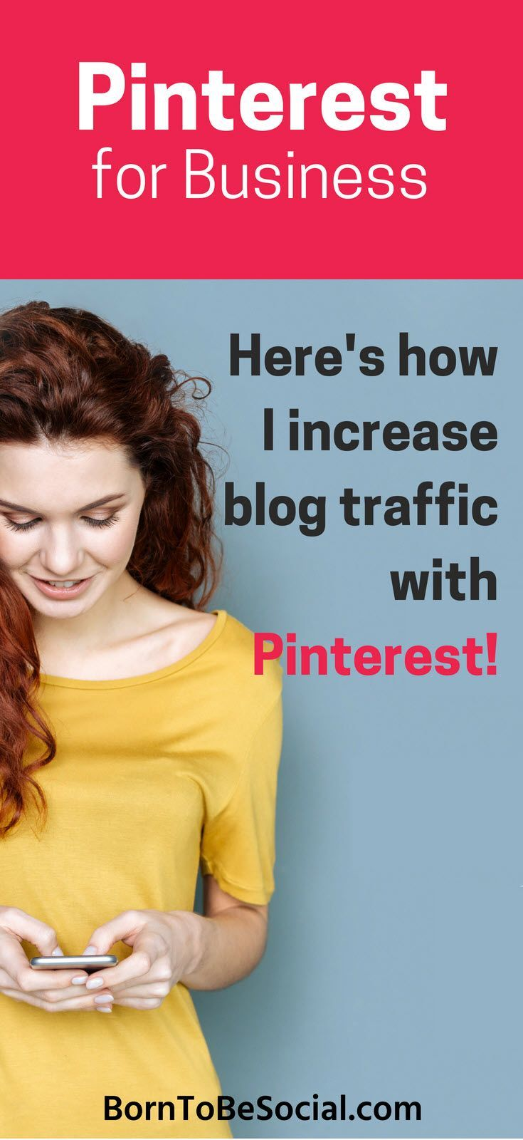 How to increase blog traffic with Pinterest – Here's how to use Pinterest to drive traffic to your blog.  Increase your business visibility and number of visitors to your #blog and your website! | Mary Lumley | #BornToBeSocial #Pinterest Marketing & Consulting